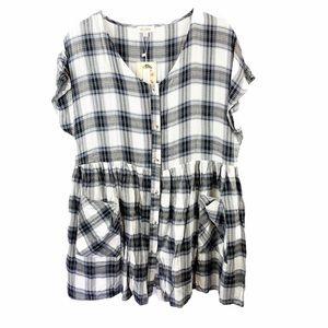 NWT Velzera Black & Blue Plaid Babydoll Dress Sm